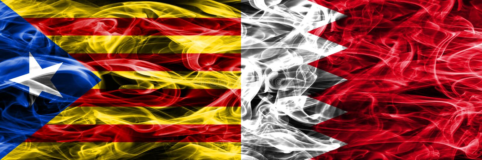 Catalonia vs Bahrain copy smoke flags placed side by side. Thick colored silky smoke flags of Catalan and Bahrain copy.  royalty free illustration