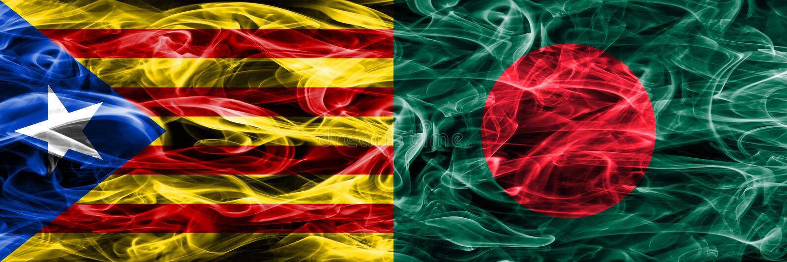 Catalonia vs Bangladesh copy smoke flags placed side by side. Thick colored silky smoke flags of Catalan and Bangladesh copy.  vector illustration