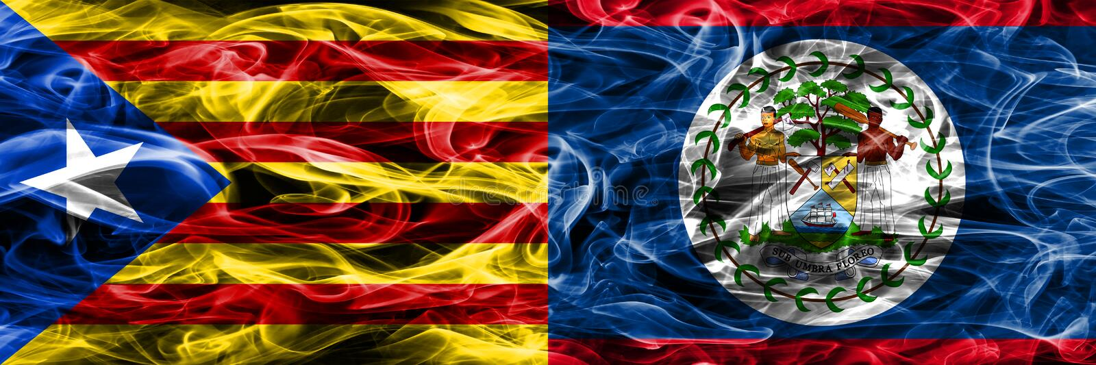 Catalonia vs Belize copy smoke flags placed side by side. Thick colored silky smoke flags of Catalan and Belize copy.  vector illustration