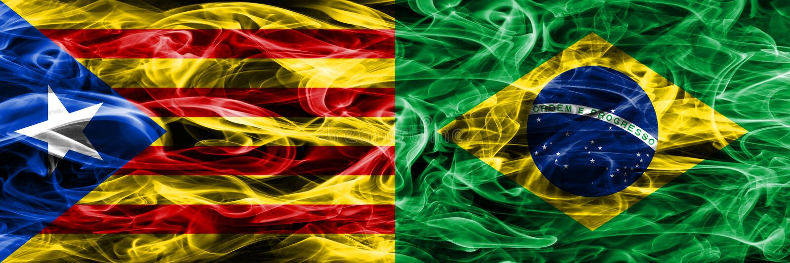 Catalonia vs Brazil copy smoke flags placed side by side. Thick colored silky smoke flags of Catalan and Brazil copy.  vector illustration