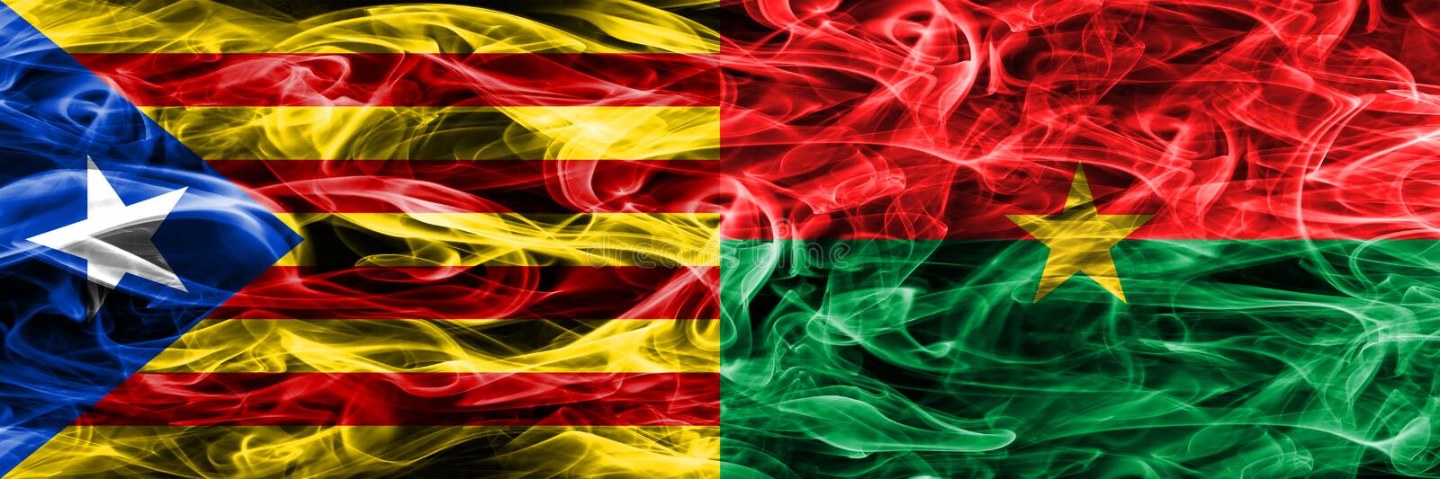 Catalonia vs Burkina Faso copy smoke flags placed side by side. Thick colored silky smoke flags of Catalan and Burkina Faso copy.  royalty free illustration
