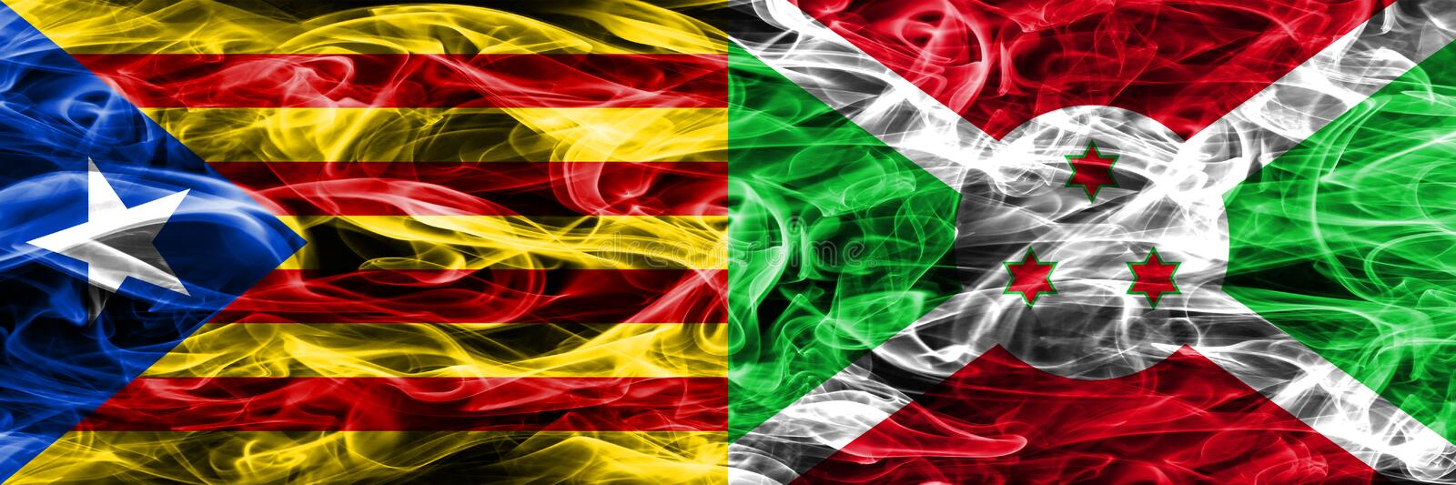 Catalonia vs Burundi copy smoke flags placed side by side. Thick colored silky smoke flags of Catalan and Burundi copy.  vector illustration
