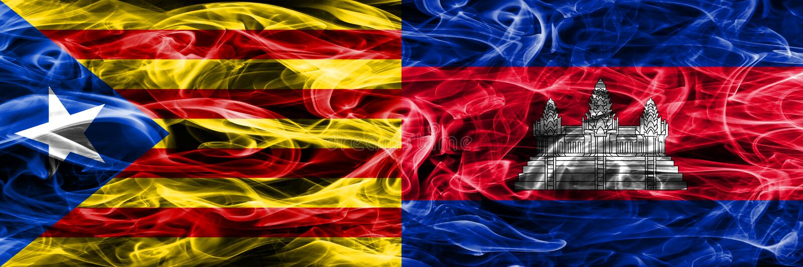 Catalonia vs Cambodia copy smoke flags placed side by side. Thick colored silky smoke flags of Catalan and Cambodia copy.  vector illustration