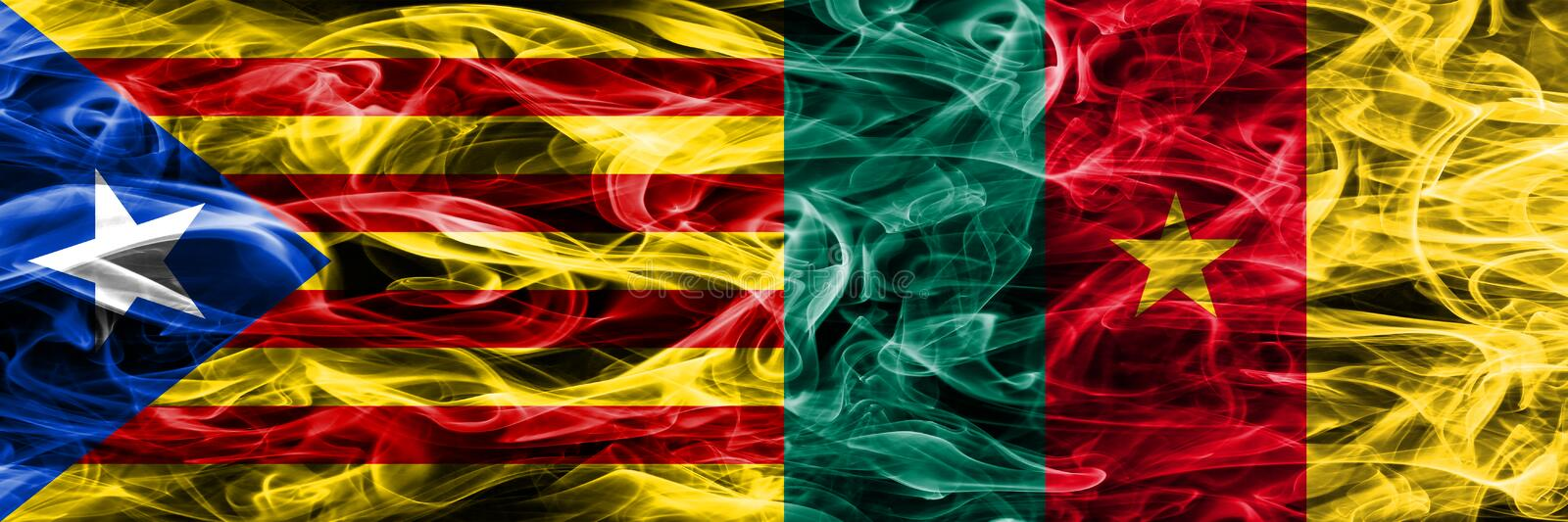 Catalonia vs Cameroon copy smoke flags placed side by side. Thick colored silky smoke flags of Catalan and Cameroon copy.  royalty free illustration