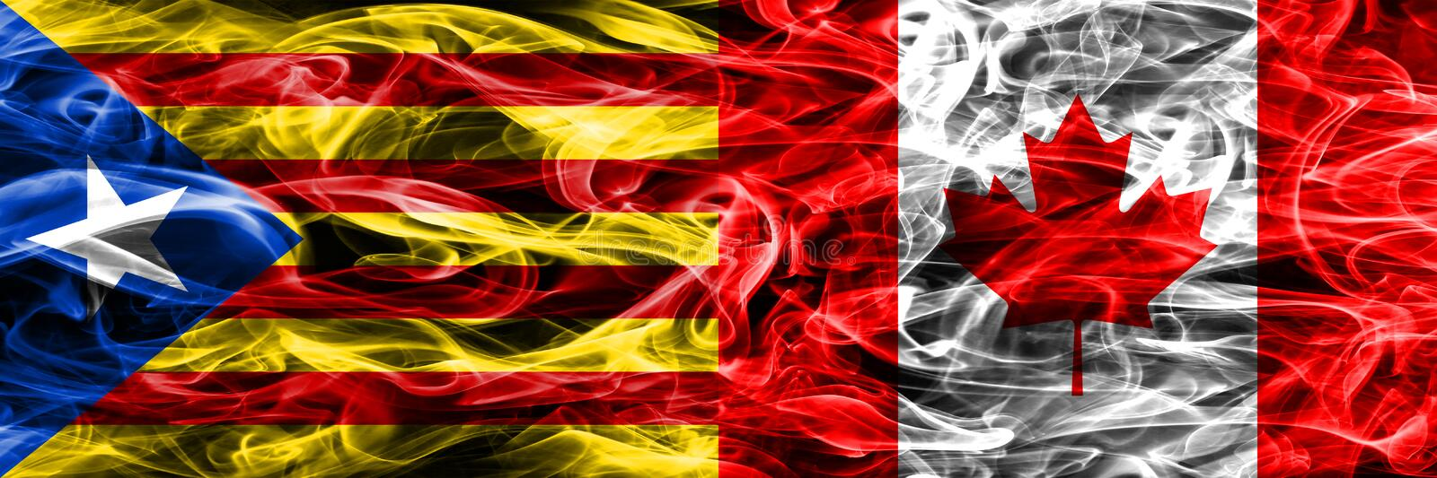 Catalonia vs Canada copy smoke flags placed side by side. Thick colored silky smoke flags of Catalan and Canada copy.  royalty free illustration