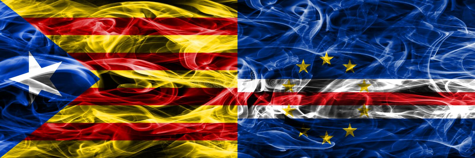 Catalonia vs Cape Verde copy smoke flags placed side by side. Thick colored silky smoke flags of Catalan and Cape Verde copy.  vector illustration