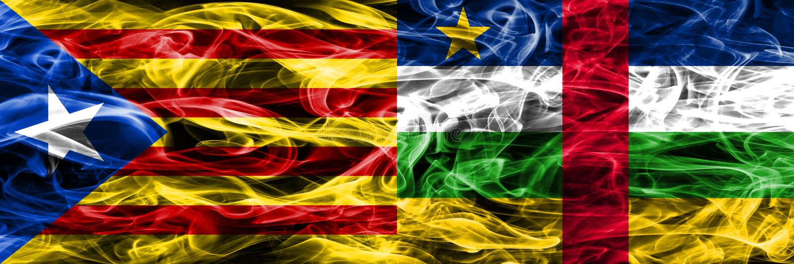 Catalonia vs Central African Republic copy smoke flags placed side by side. Thick colored silky smoke flags of Catalan and Central. African Republic copy royalty free illustration
