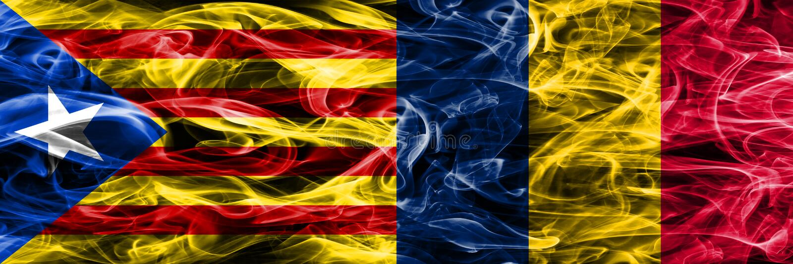 Catalonia vs Chad copy smoke flags placed side by side. Thick colored silky smoke flags of Catalan and Chad copy.  vector illustration