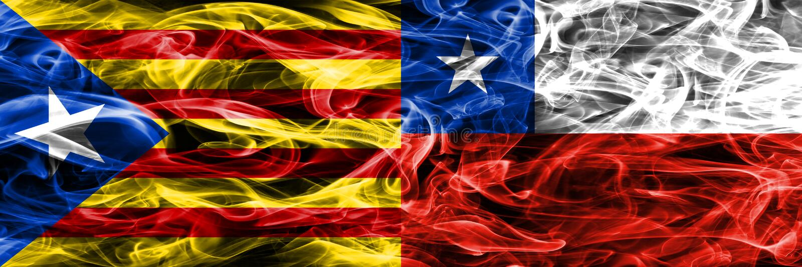 Catalonia vs Chile copy smoke flags placed side by side. Thick colored silky smoke flags of Catalan and Chile copy.  stock illustration