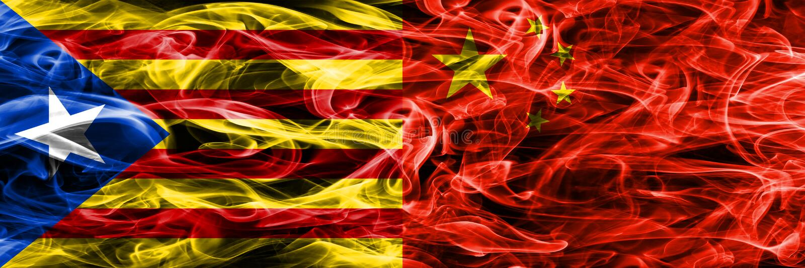 Catalonia vs China copy smoke flags placed side by side. Thick colored silky smoke flags of Catalan and China copy.  royalty free illustration