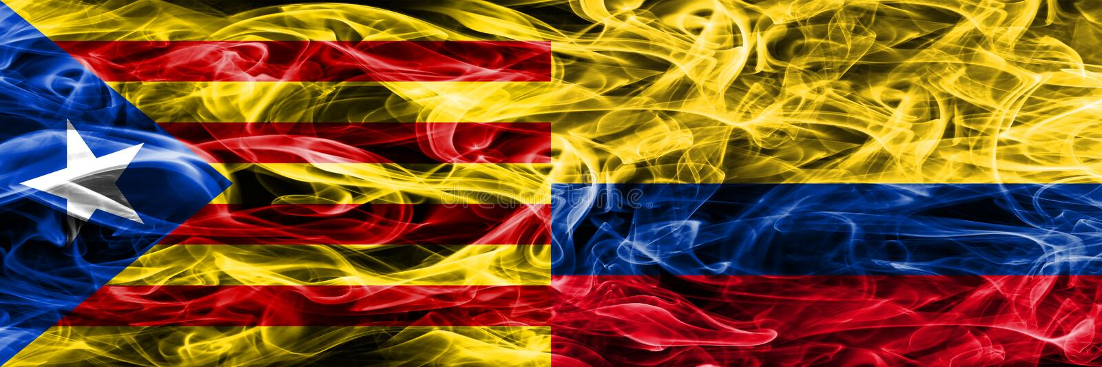 Catalonia vs Colombia copy smoke flags placed side by side. Thick colored silky smoke flags of Catalan and Colombia copy.  stock illustration