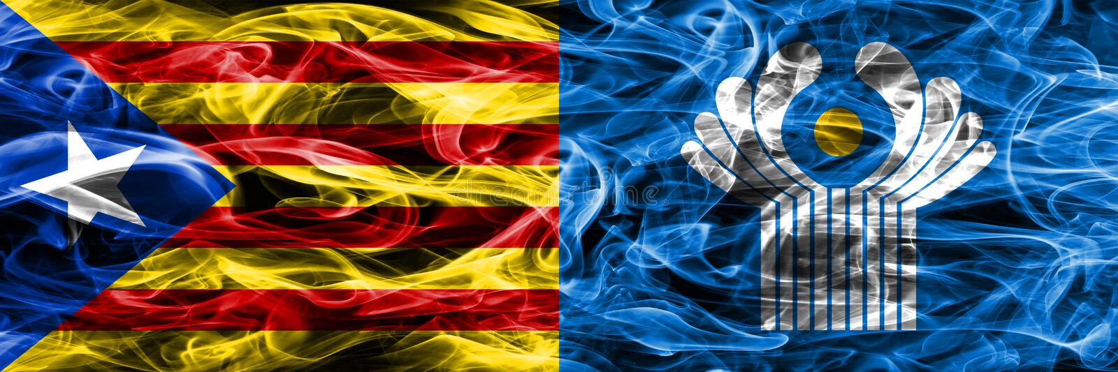 Catalonia vs Commonwealth copy smoke flags placed side by side. Thick colored silky smoke flags of Catalan and Commonwealth copy.  stock illustration