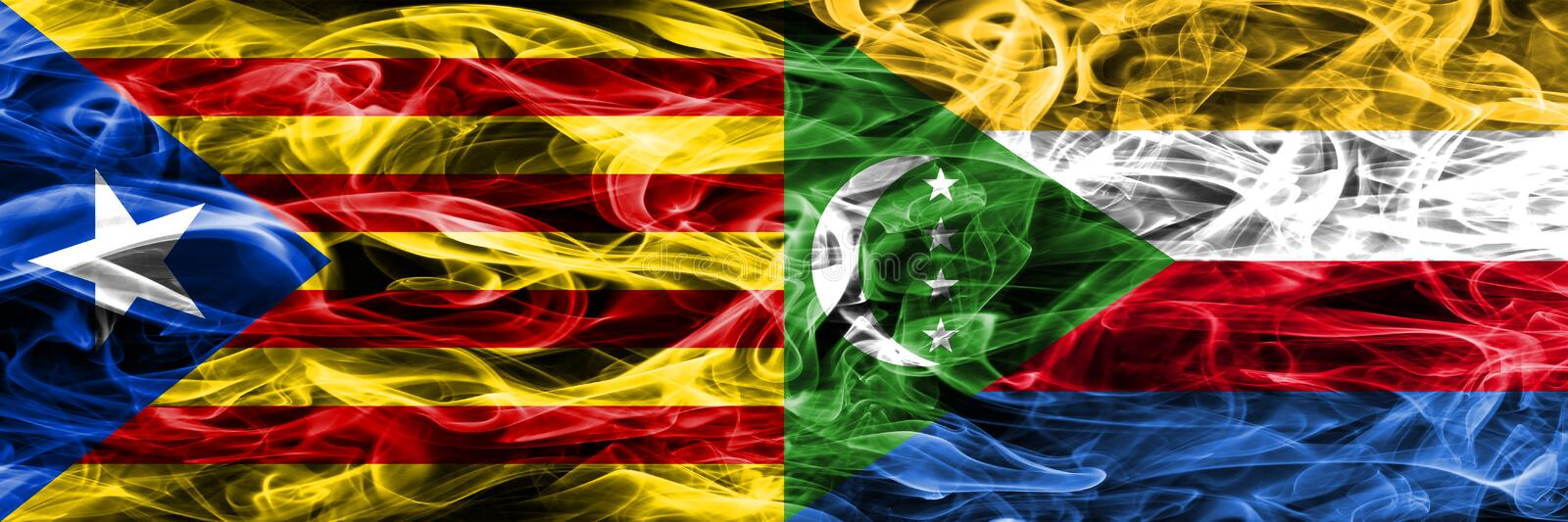 Catalonia vs Comoros copy smoke flags placed side by side. Thick colored silky smoke flags of Catalan and Comoros copy.  stock illustration