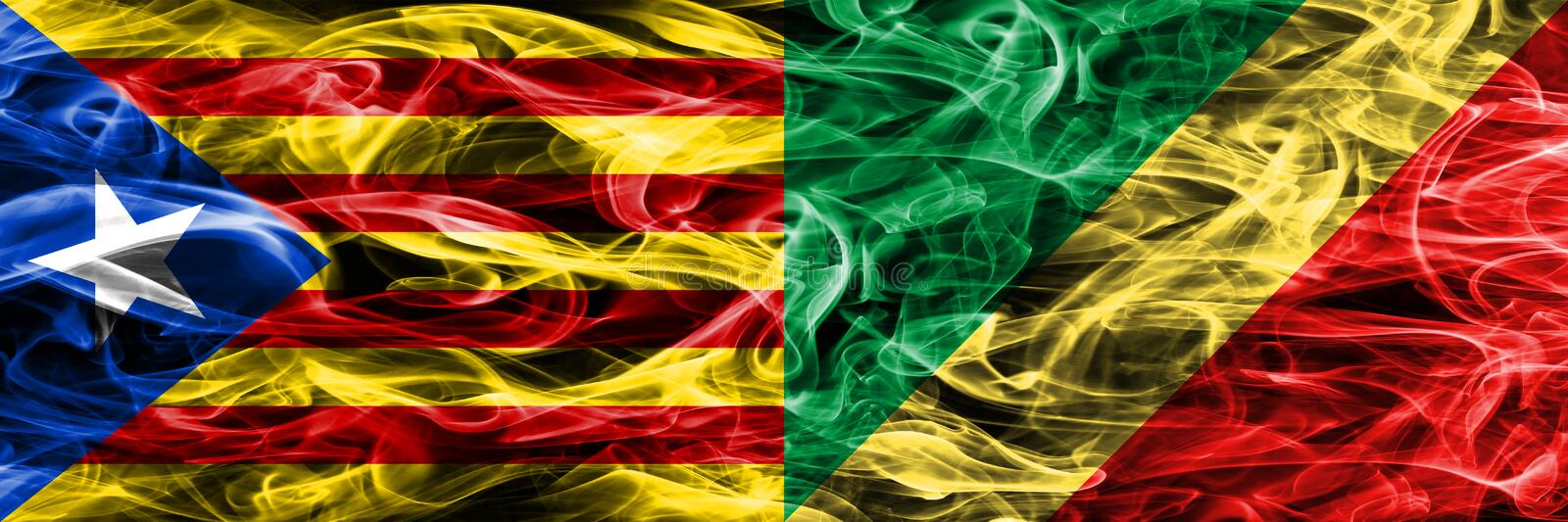 Catalonia vs Congo copy smoke flags placed side by side. Thick colored silky smoke flags of Catalan and Congo copy.  vector illustration