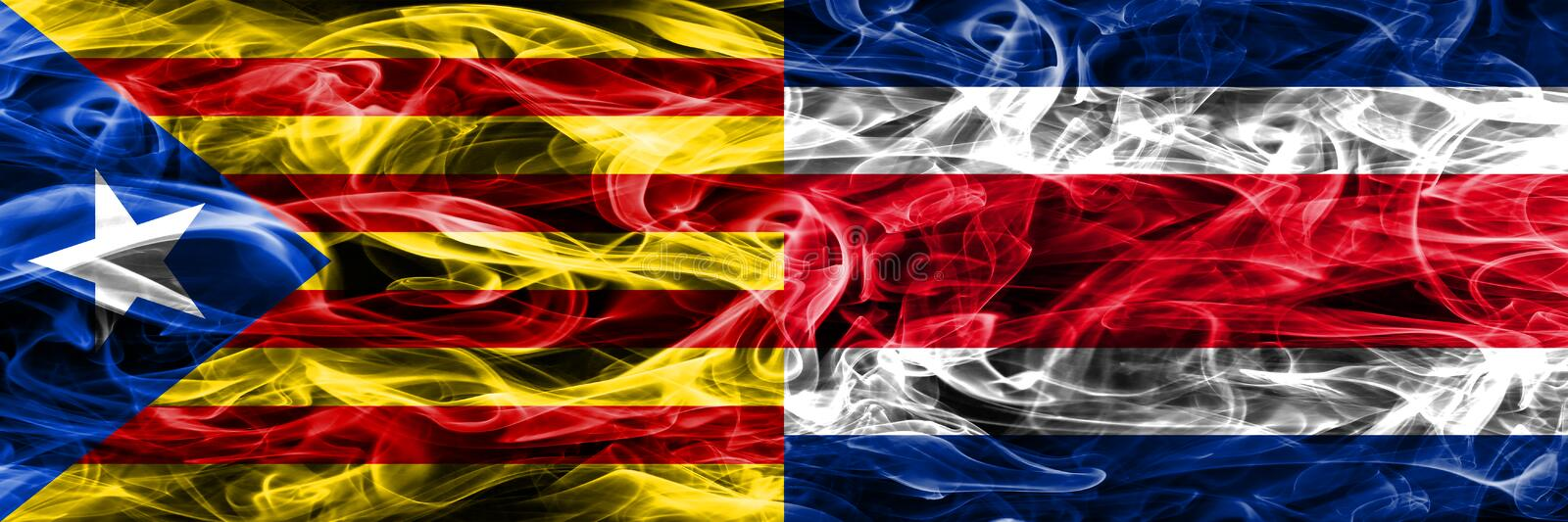 Catalonia vs Costa Rica copy smoke flags placed side by side. Thick colored silky smoke flags of Catalan and Costa Rica copy.  royalty free illustration