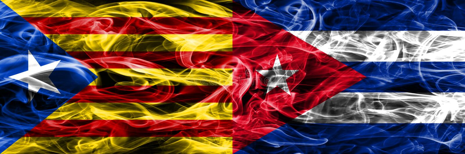 Catalonia vs Cuba copy smoke flags placed side by side. Thick colored silky smoke flags of Catalan and Cuba copy.  stock illustration
