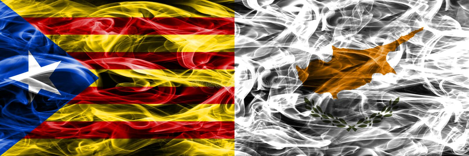 Catalonia vs Cyprus copy smoke flags placed side by side. Thick colored silky smoke flags of Catalan and Cyprus copy.  royalty free illustration