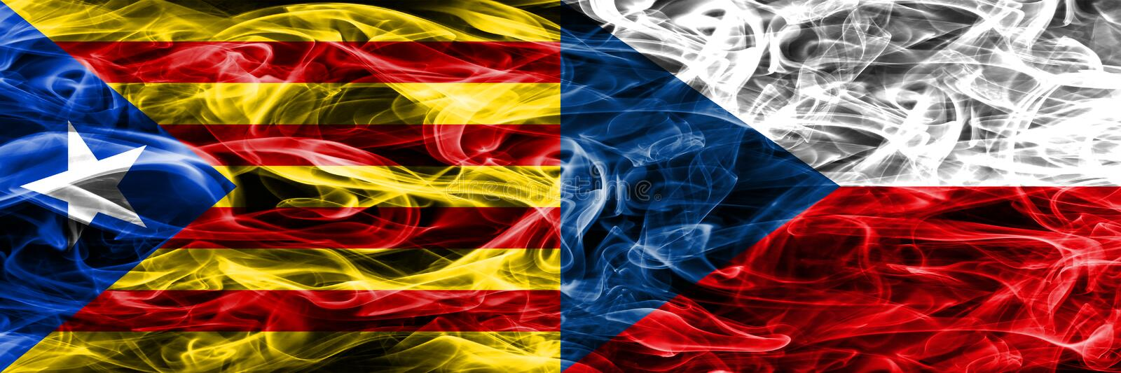 Catalonia vs Czech Republic copy smoke flags placed side by side. Thick colored silky smoke flags of Catalan and Czech Republic co. Py stock illustration