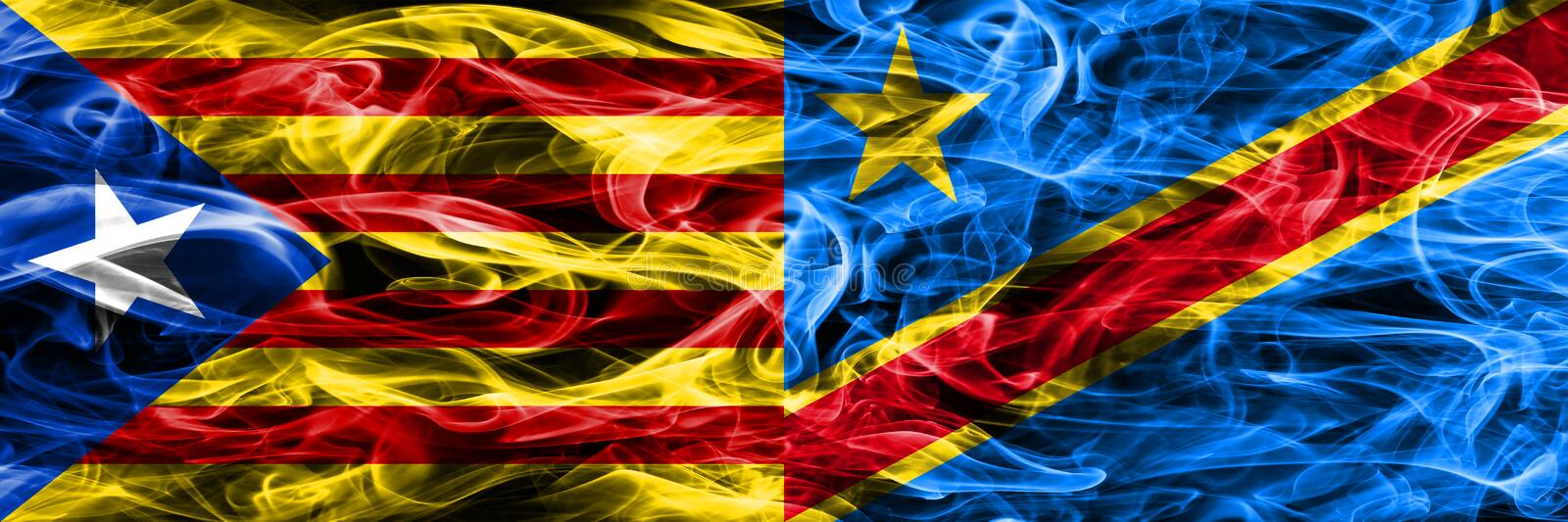 Catalonia vs Democratic Republic of the Congo copy smoke flags placed side by side. Thick colored silky smoke flags of Catalan and. Democratic Republic of the royalty free illustration