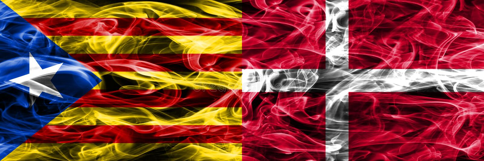 Catalonia vs Denmark copy smoke flags placed side by side. Thick colored silky smoke flags of Catalan and Denmark copy.  royalty free illustration