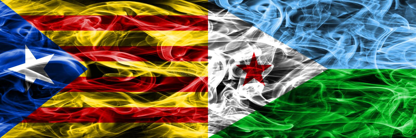 Catalonia vs Djibouti copy smoke flags placed side by side. Thick colored silky smoke flags of Catalan and Djibouti copy.  royalty free illustration