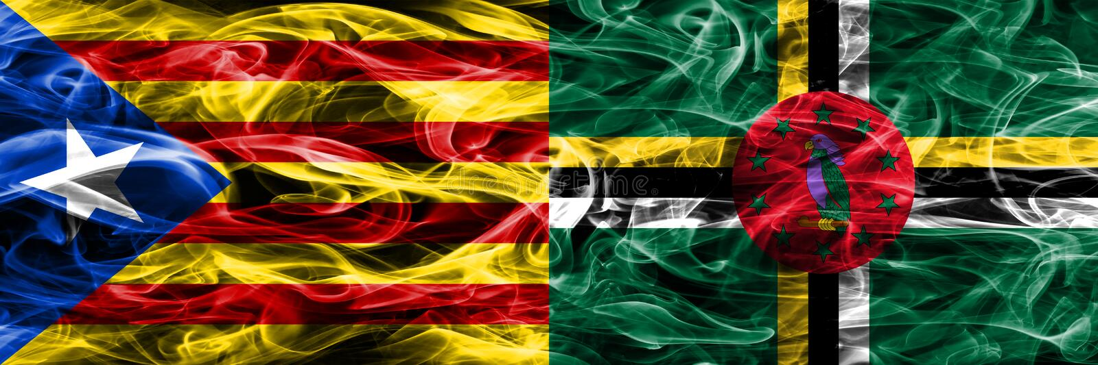 Catalonia vs Dominica copy smoke flags placed side by side. Thick colored silky smoke flags of Catalan and Dominica copy.  royalty free illustration