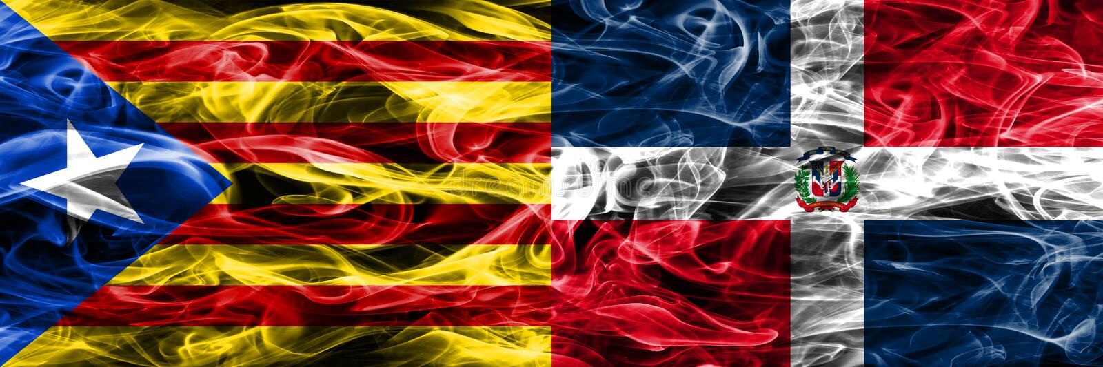 Catalonia vs Dominican Republic copy smoke flags placed side by side. Thick colored silky smoke flags of Catalan and Dominican Rep. Ublic copy royalty free illustration