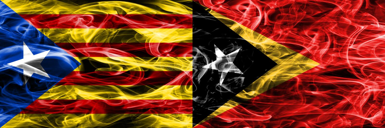 Catalonia vs East Timor copy smoke flags placed side by side. Thick colored silky smoke flags of Catalan and East Timor copy.  vector illustration
