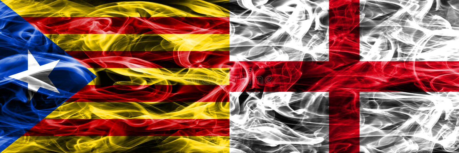 Catalonia vs England copy smoke flags placed side by side. Thick colored silky smoke flags of Catalan and England copy.  stock illustration