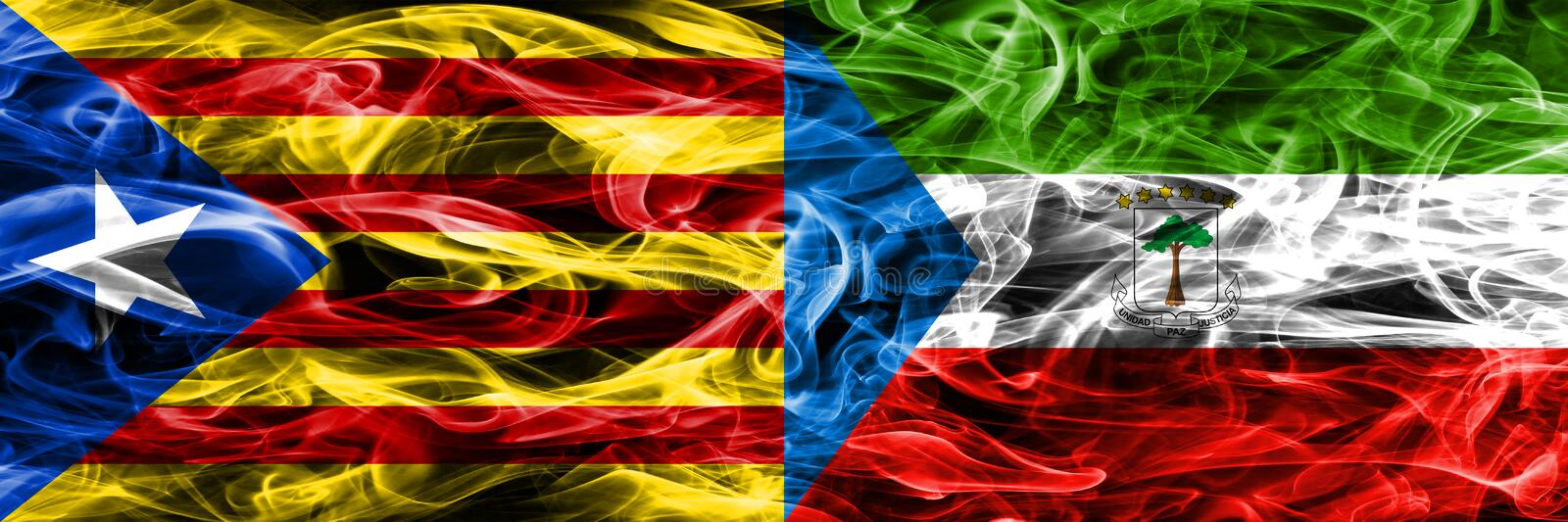 Catalonia vs Equatorial Guinea copy smoke flags placed side by side. Thick colored silky smoke flags of Catalan and Equatorial Gui. Nea copy vector illustration