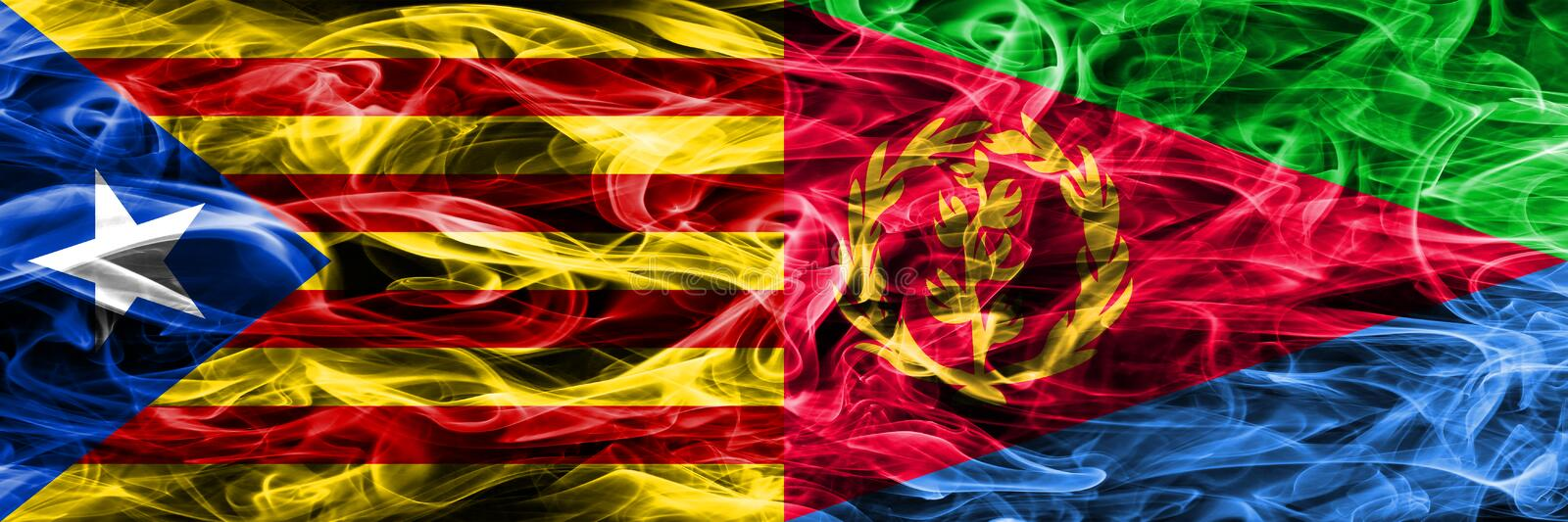 Catalonia vs Eritrea copy smoke flags placed side by side. Thick colored silky smoke flags of Catalan and Eritrea copy.  royalty free illustration