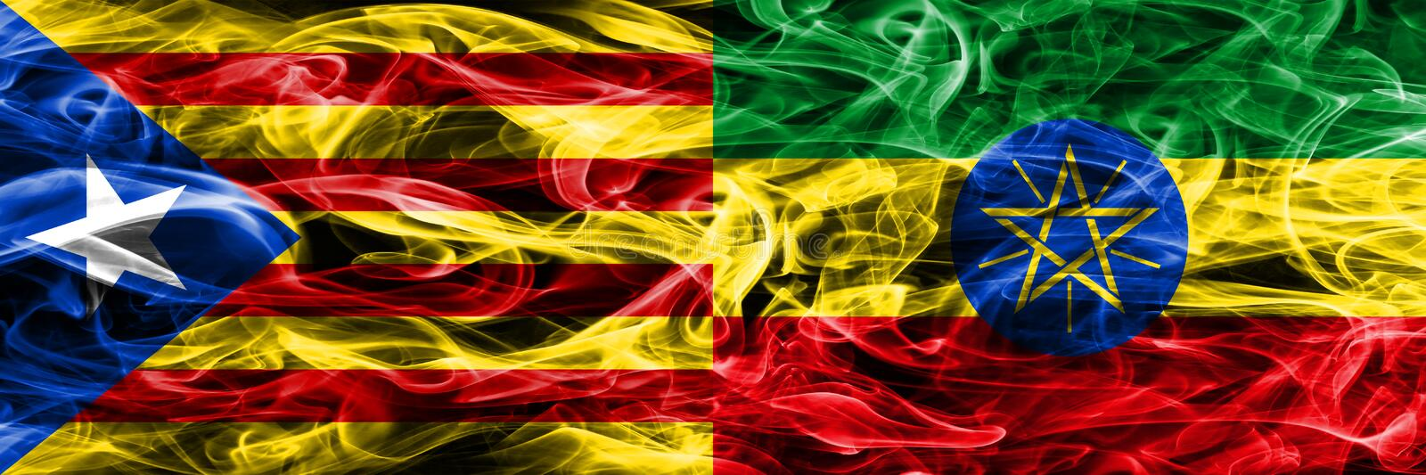 Catalonia vs Ethiopia copy smoke flags placed side by side. Thick colored silky smoke flags of Catalan and Ethiopia copy.  royalty free illustration