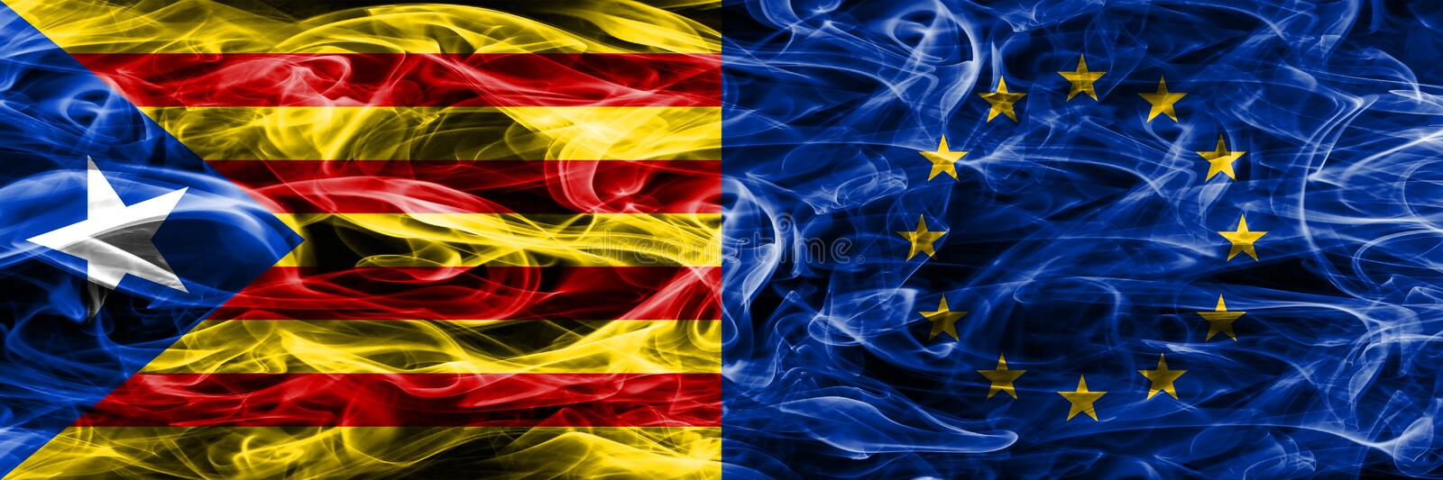 Catalonia vs European Union copy smoke flags placed side by side. Thick colored silky smoke flags of Catalan and European Union co. Py vector illustration