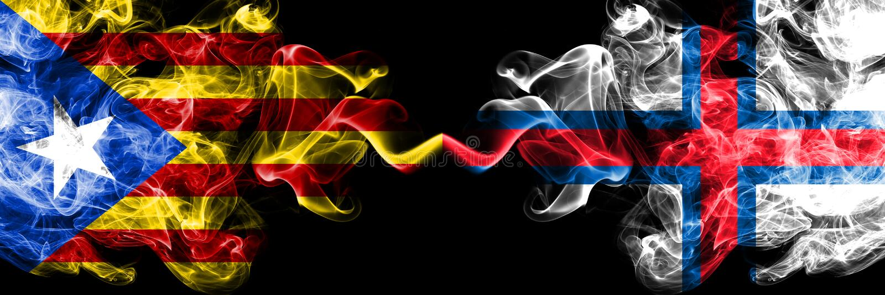 Catalonia vs Faroe Island rökflaggor förlade sidan - vid - sidan Tjocka kulöra silkeslena rökflaggor av Catalonia och Faroe Islan stock illustrationer