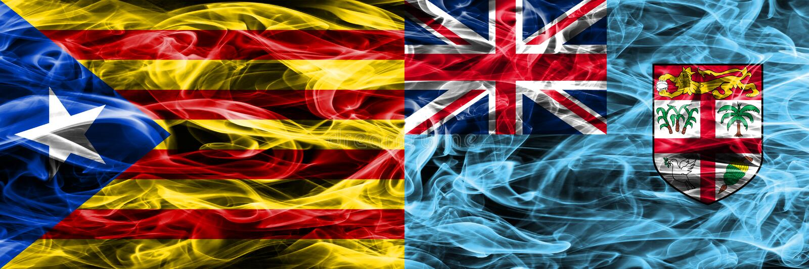 Catalonia vs Fiji copy smoke flags placed side by side. Thick colored silky smoke flags of Catalan and Fiji copy.  royalty free illustration