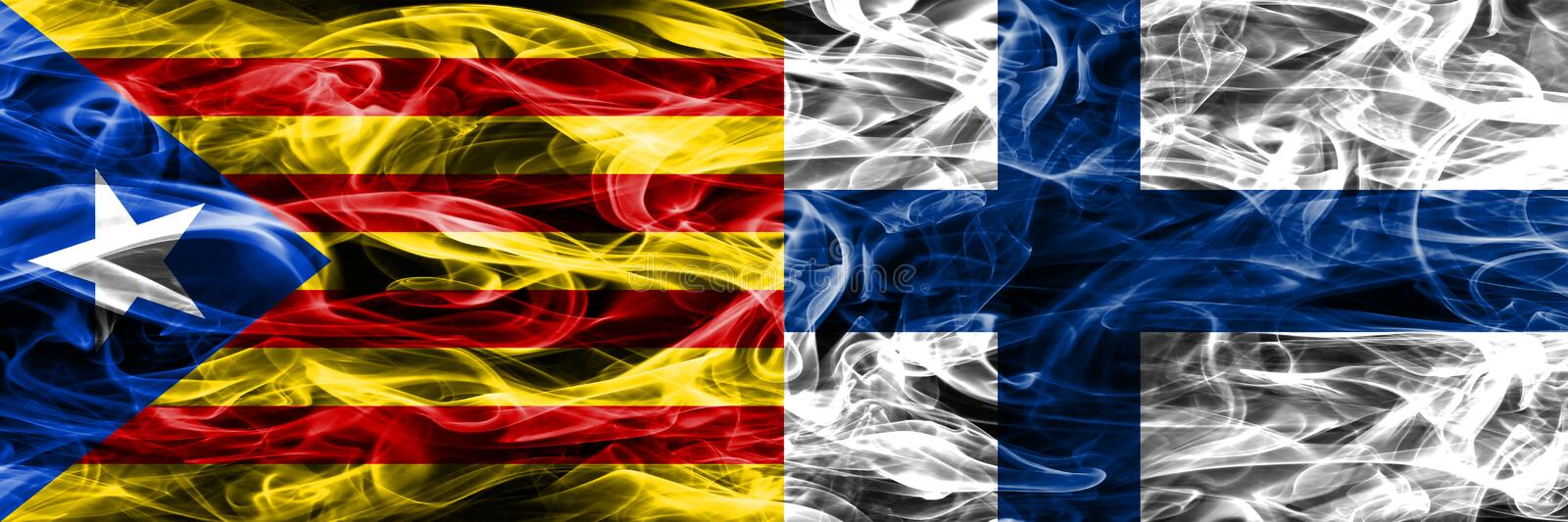 Catalonia vs Finland copy smoke flags placed side by side. Thick colored silky smoke flags of Catalan and Finland copy.  stock illustration