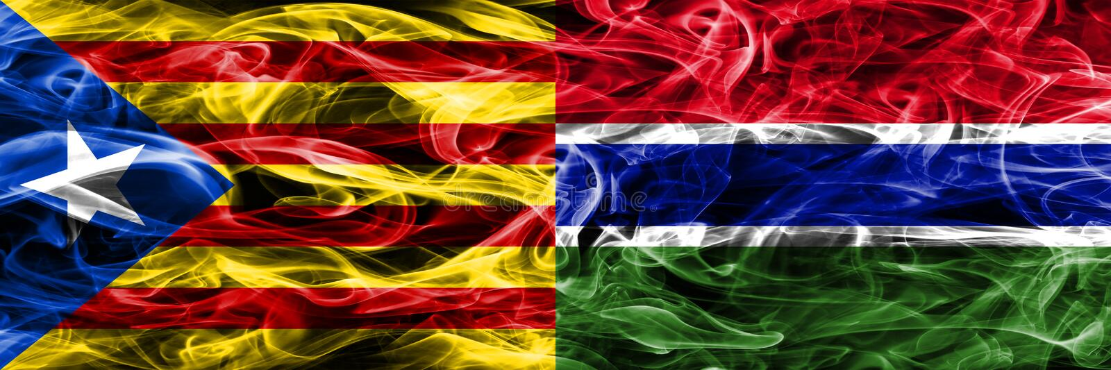 Catalonia vs Gambia copy smoke flags placed side by side. Thick colored silky smoke flags of Catalan and Gambia copy.  stock illustration