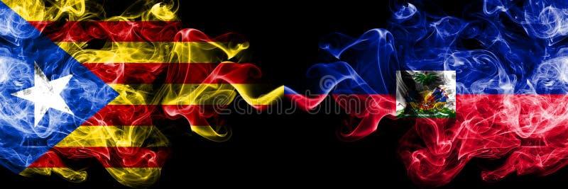 Catalonia vs Haiti, haitira rökflaggor förlade sidan - vid - sidan Tjocka kulöra silkeslena rökflaggor av Catalonia och Haiti som royaltyfri illustrationer