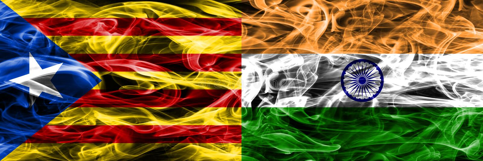 Catalonia vs India copy smoke flags placed side by side. Thick colored silky smoke flags of Catalan and India copy.  vector illustration