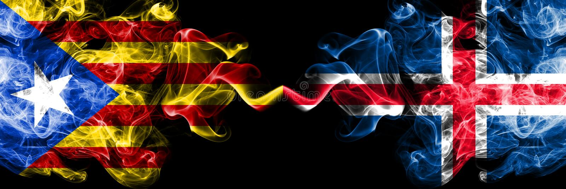 Catalonia vs Island, isländska rökflaggor förlade sidan - vid - sidan Tjocka kulöra silkeslena rökflaggor av Catalonia och Island vektor illustrationer