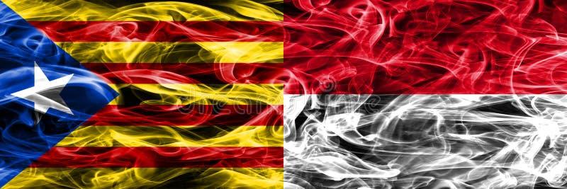 Catalonia vs Monaco kopieringsrök sjunker den förlade sidan - förbi - sidan Tjockt färgade silkeslena rökflaggor av Catalan och M stock illustrationer