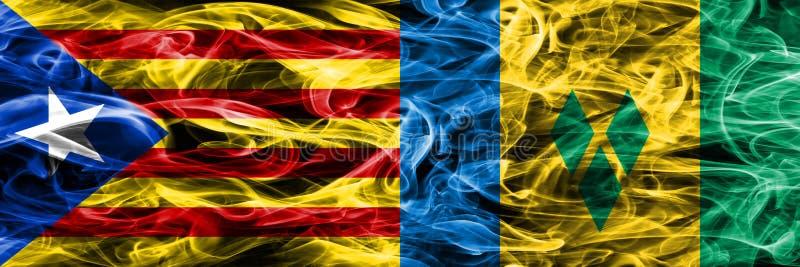 Catalonia vs Saint Vincent och Grenadinerna kopieringsrök sjunker den förlade sidan - förbi - sidan Tjockt färgade silkeslena rök vektor illustrationer
