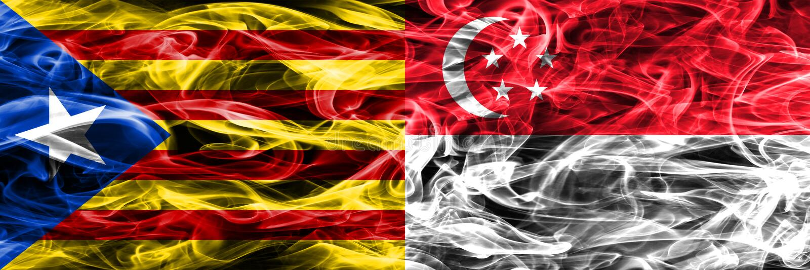 Catalonia vs Singapore copy smoke flags placed side by side. Thick colored silky smoke flags of Catalan and Singapore copy royalty free illustration