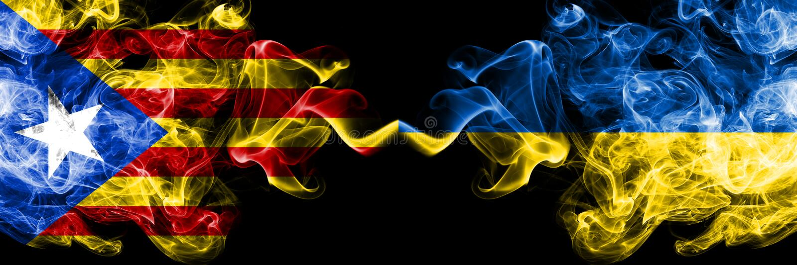 Catalonia vs Ukraine, Ukrainian smoke flags placed side by side. Thick colored silky smoke flags of Catalonia and Ukraine,. Ukrainian stock illustration