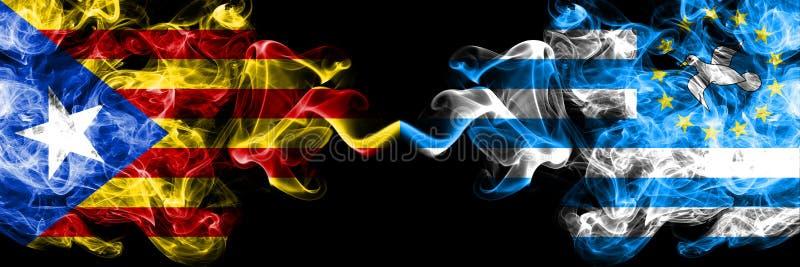 Cataluña contra banderas del sur del humo del Camerún colocó de lado a lado Banderas sedosas coloreadas gruesas del humo de Catal imagen de archivo