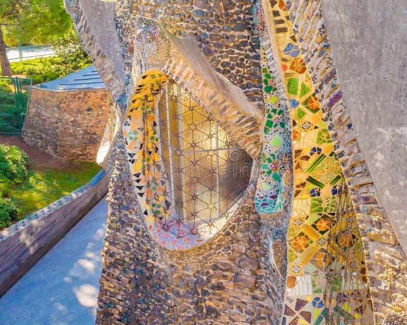 Guell Crypt Exterior, Catalunya, Spain stock photo