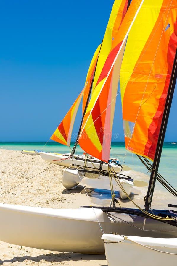 Catamarãs com velas coloridas em uma praia cubana imagem de stock royalty free