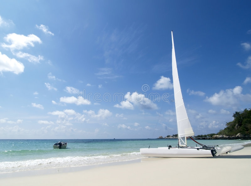 Download Catamaran on the beach stock image. Image of island, tropical - 2325689