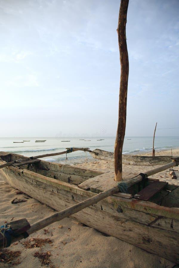 Catamaran on the beach stock images