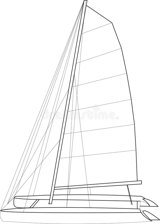 Catamaran Boat Layout vector illustration